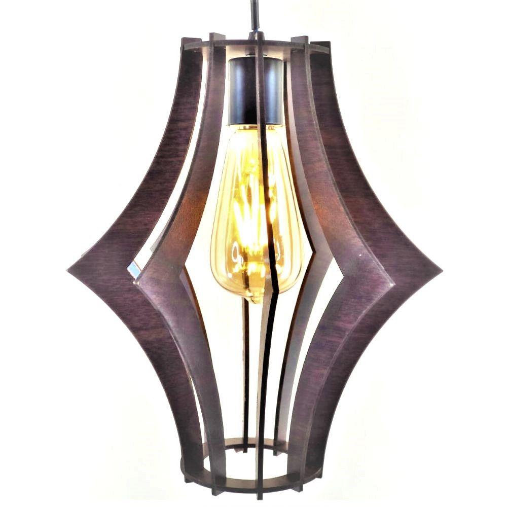 Lustre Pendente em madeira MDF + Lâmpada Vintage Retro