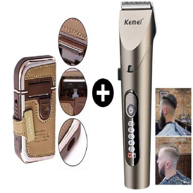 Máquina de Cortar Cabelo, Pelos e Barba Original Kemei KM1627 + Barbeador Portátil Original 5600 Recarregável Bivolt