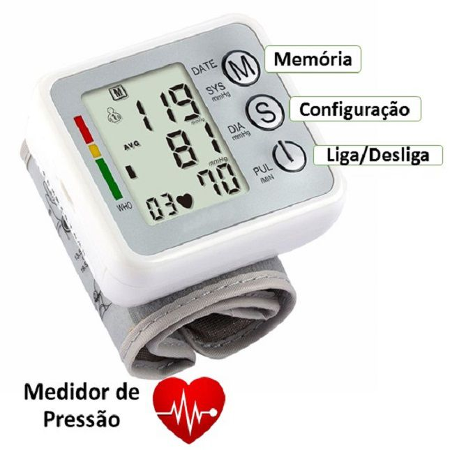 Medidor Arterial De Pressão Digital de Pulso