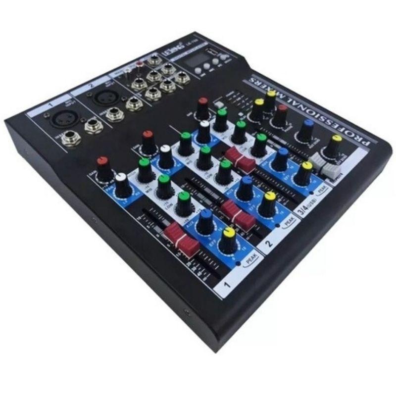 Mesa De Som 4 Canais Bluetooth Mixer Player Usb Digital Lelong LE-708