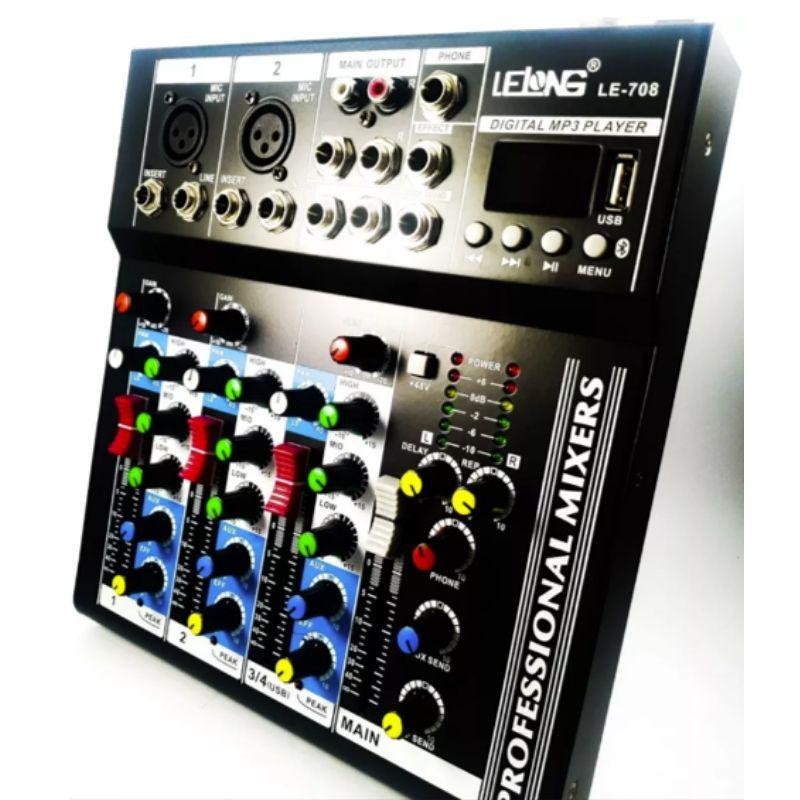 Mesa De Som Bluetooth 4 Canais  Mixer Player Usb Digital Lelong LE-708