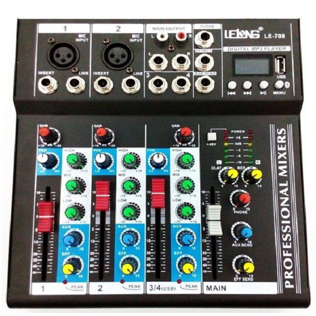 Mesa De Som Mixer Mp3 Player Digital Usb 4 Canais-Lelong LE_708