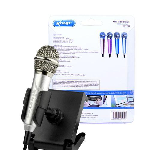 Mini Microfone Estéreo P2 Kp-907 Knup Celular Câmeras Gravador Pc Notebook Prata