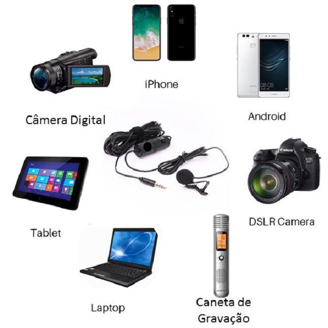 Mini Microfone La Pela MT-3301 Celular Câmeras Gravador Pc Notebook