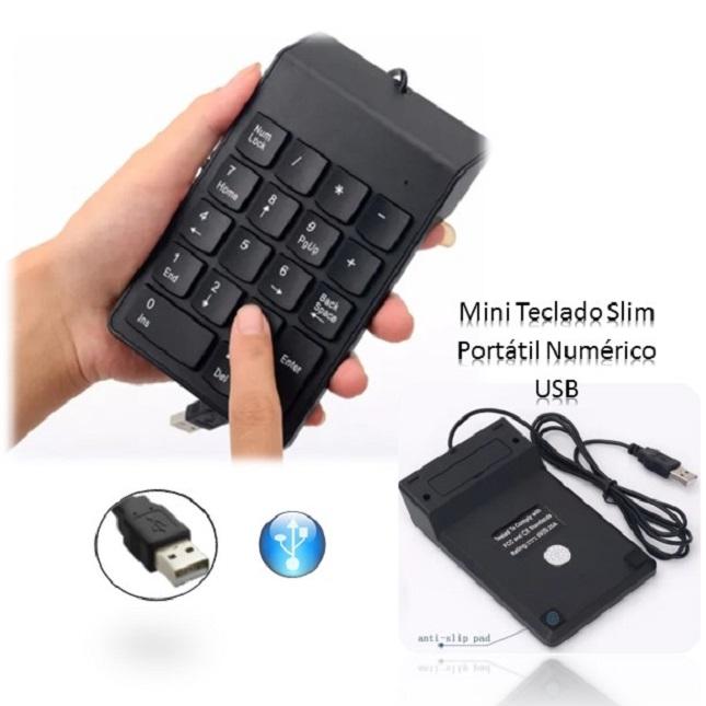 Mini Teclado Numérico Slim portátil USB com fio