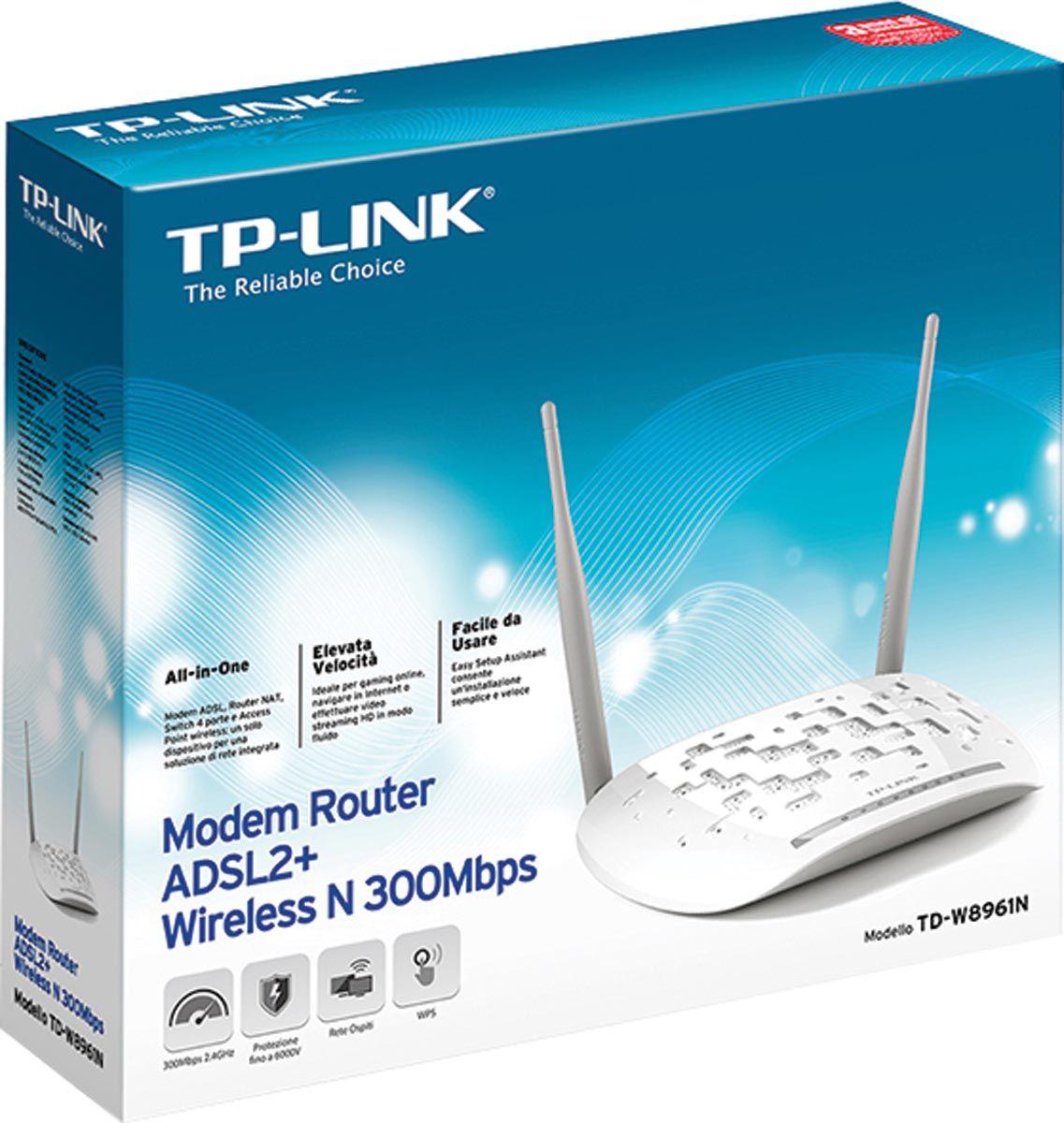 Modem Roteador Wireless N ADSL+2 300MBPS TD-W8961N