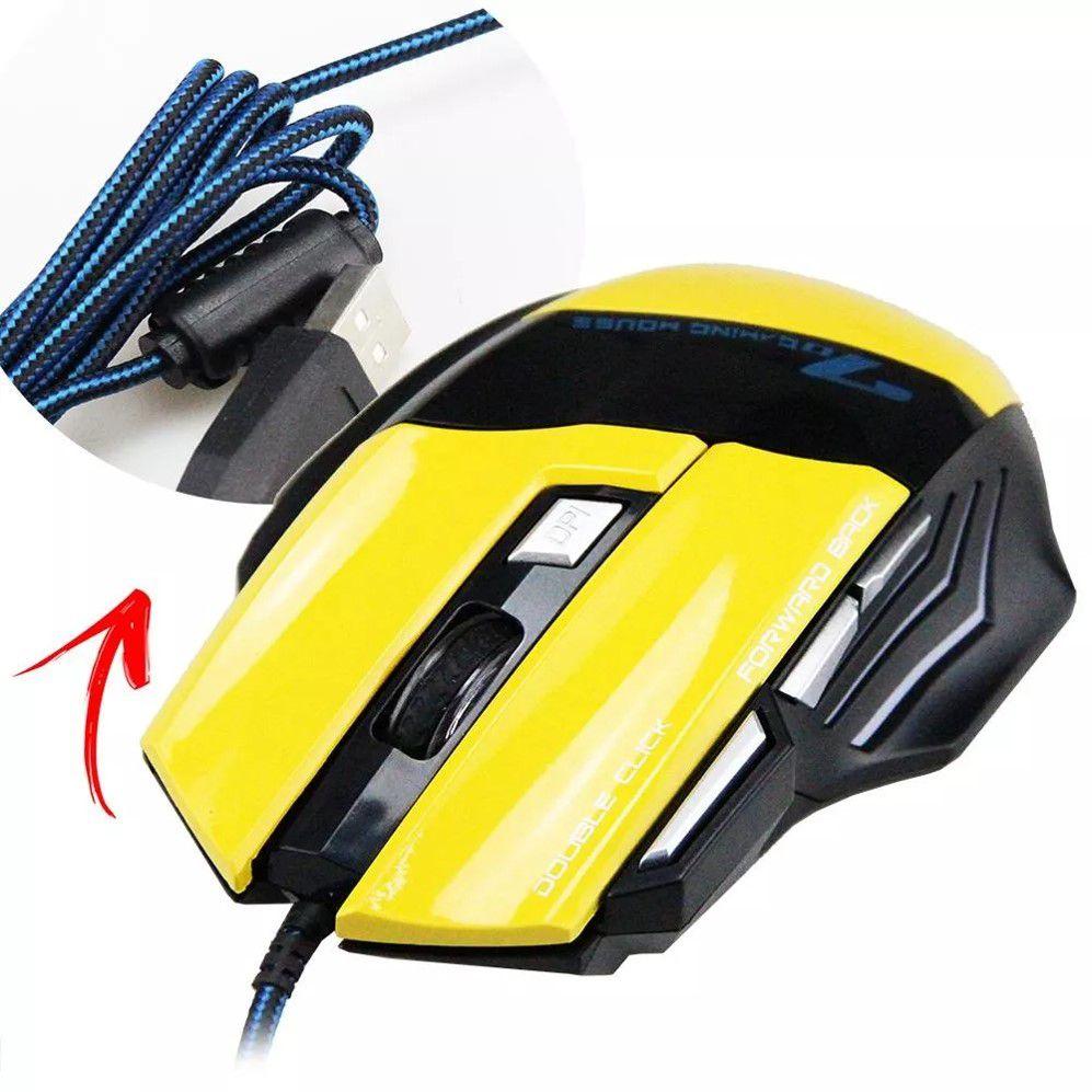 Mouse Óptico 7 Gamer Feir 2400dpi USB 7 botões LED Amarelo