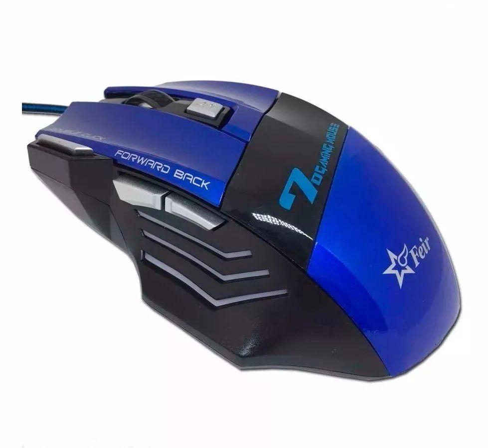 Mouse Óptico 7 Gamer Feir 2400dpi USB 7 botões LED Azul