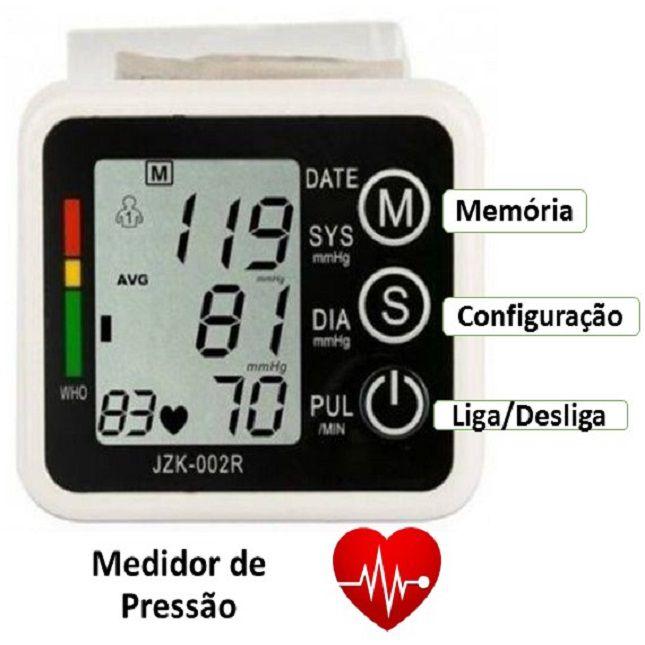 Oxímetro de Oxigênio no Sangue + Medidor De Pressão Arterial Digital de Pulso