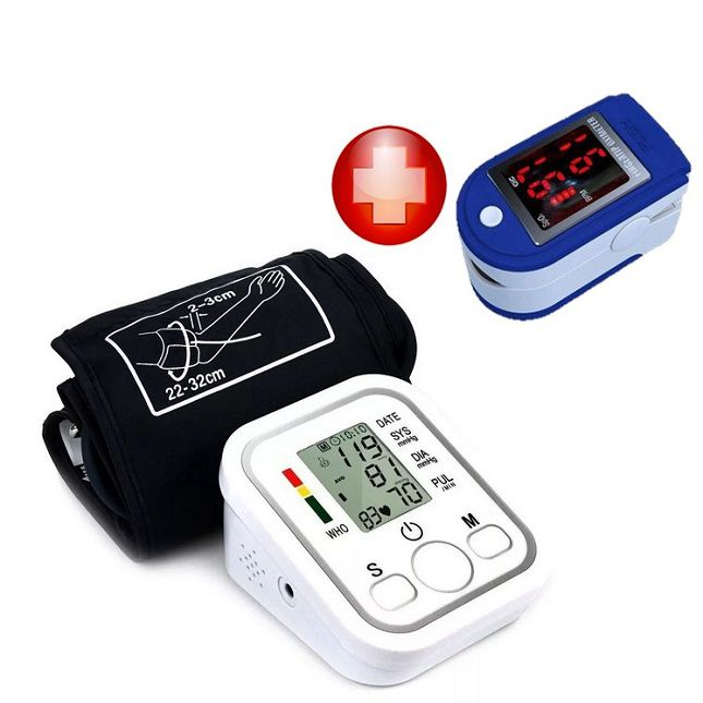 Oxímetro  de Saturação de Oxigênio no Sangue e Medidor De Pressão Arterial Digital de Pulso