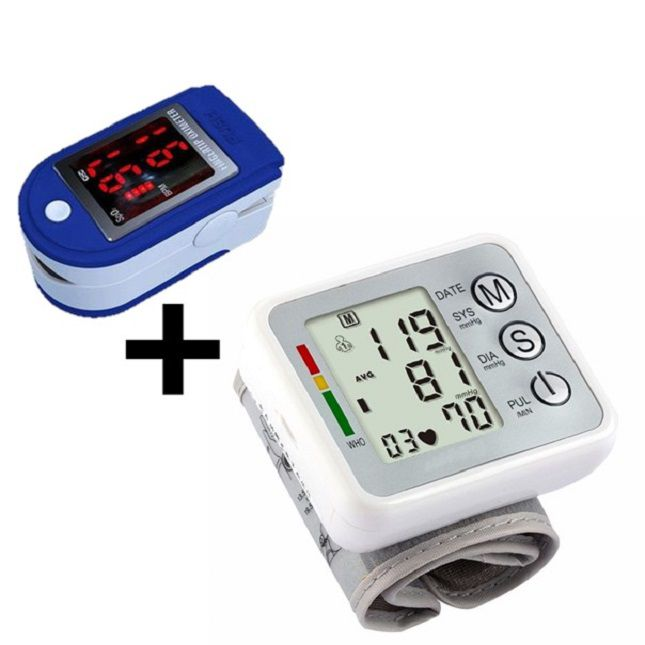 Oxímetro  de Saturação de Oxigênio no Sangue + Medidor De Pressão Arterial Digital de Pulso