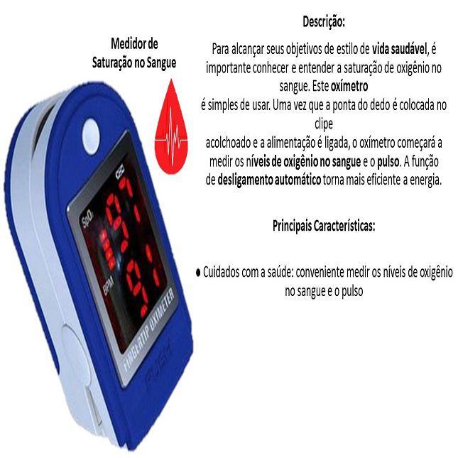Oxímetro Digítal Medidor de Saturação Sanguinêa