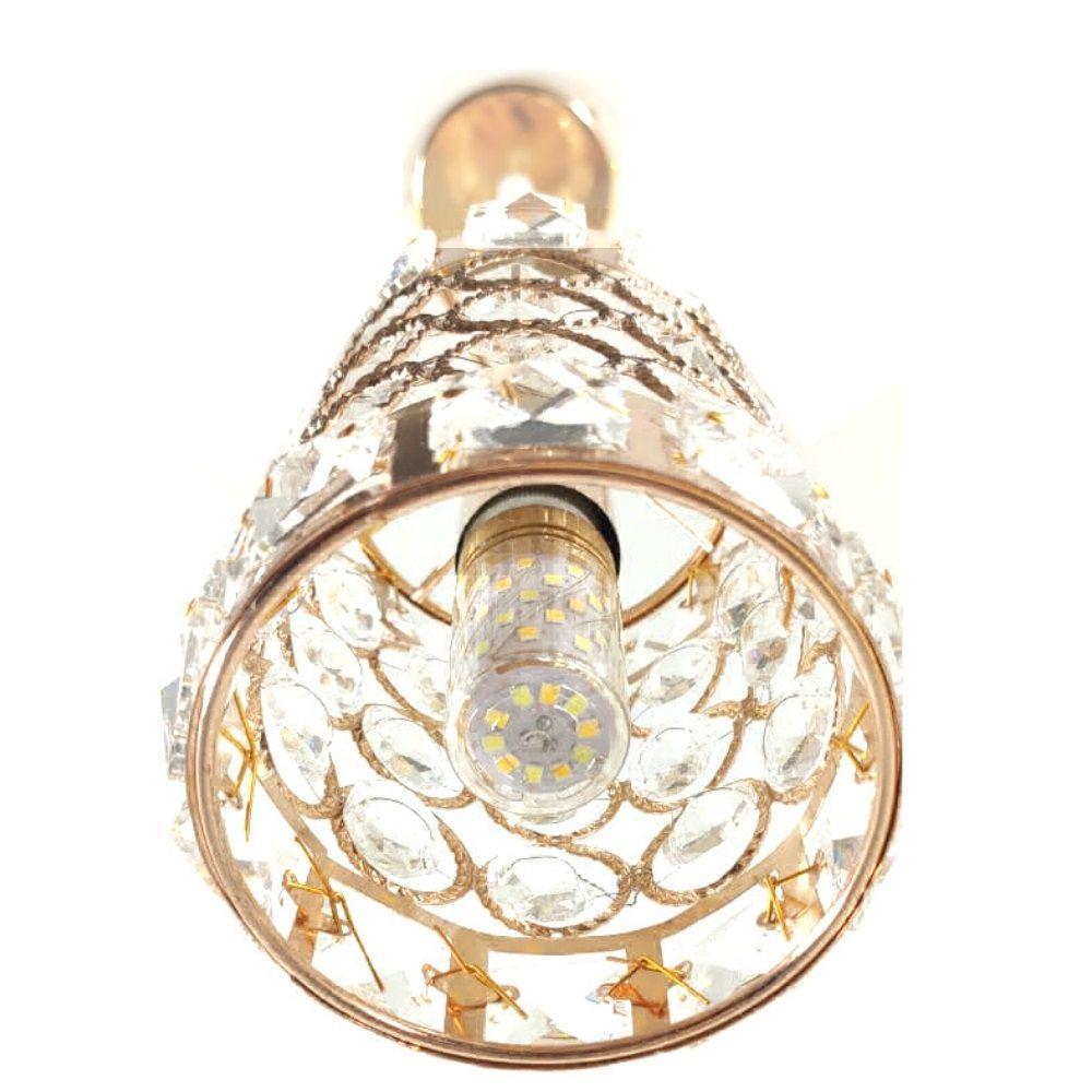 Pendente Cristal Lustre Redondo  Ouro Rosa DCD 185 + Lâmpada LED E14