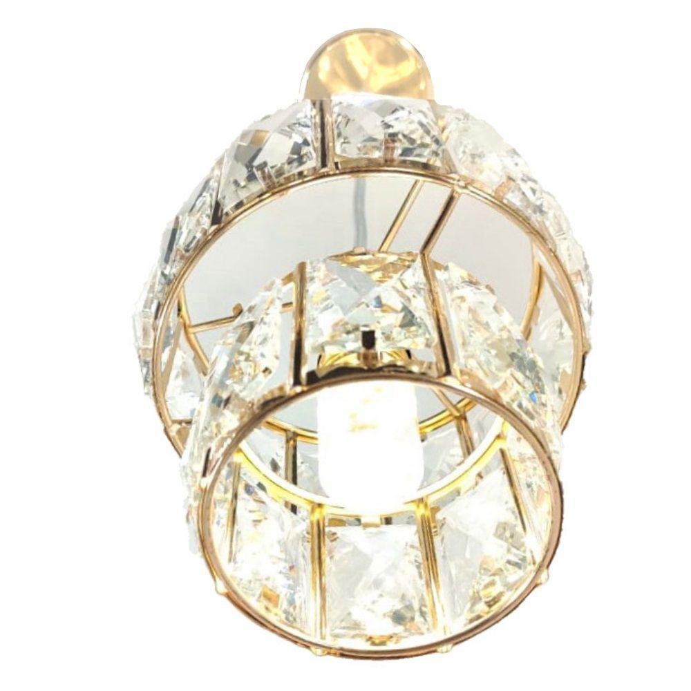 Pendente Lustre Cristal Redondo LED DCD-186 + Lâmpada LED E14