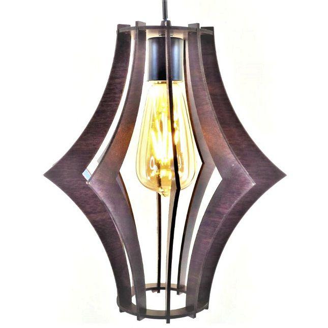 Pendente Lustre  em madeira MDF + Lâmpada Vintage Retro