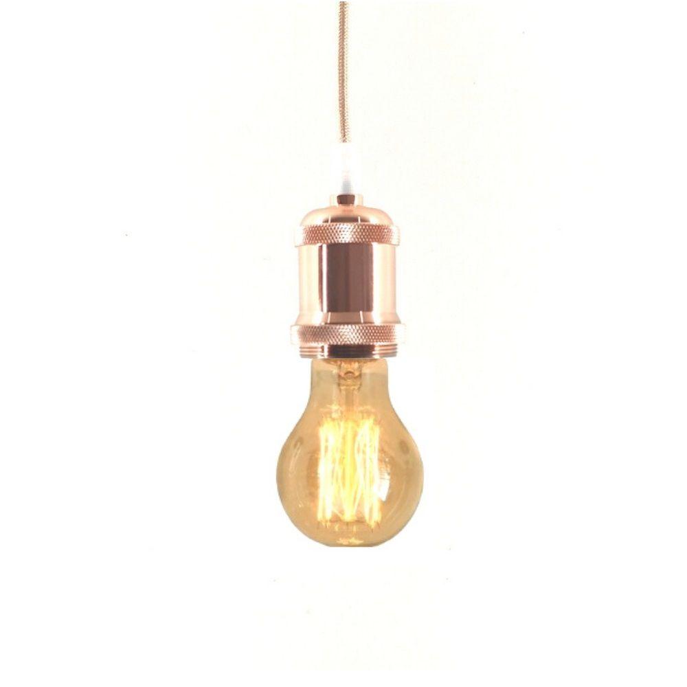 Pendente Metal Lustre Soquete  Vintage Ouro Rosa  Retro + Lâmpada E27 A60 Filamento