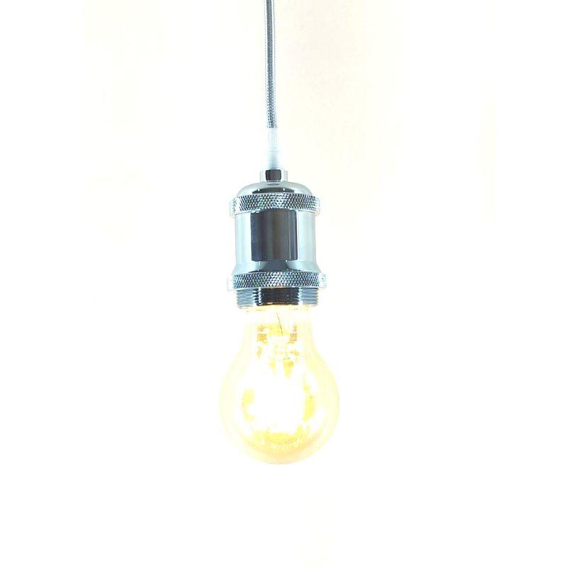 Pendente Metal Lustre Vintage Prata  Retro + Lâmpada A60 REDONDA Filamento