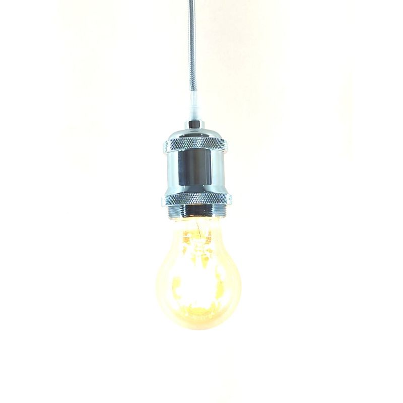 Pendente Metal Soquete E27 Prata Vintage Retro + Lâmpada A60 REDONDA Filamento