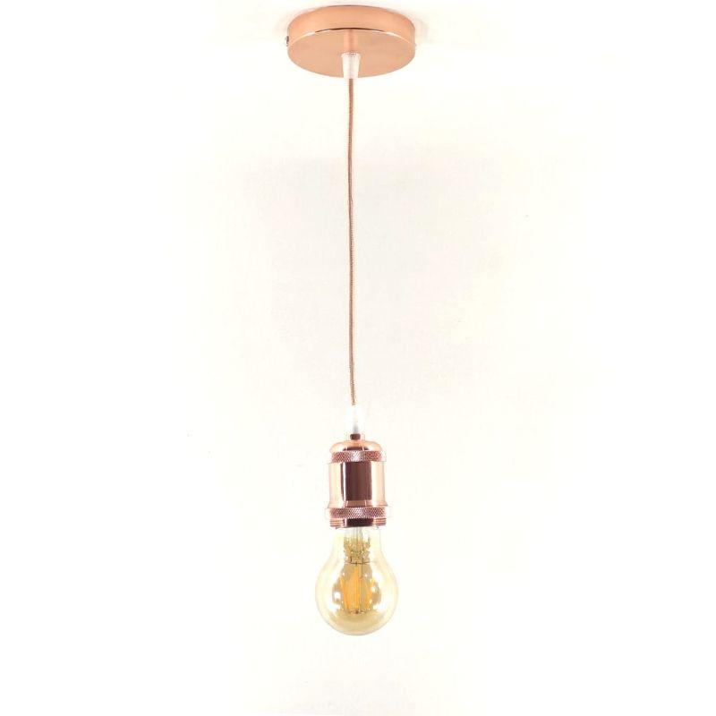 Pendente Metal Soquete E27 Rose Gold Vintage Retro