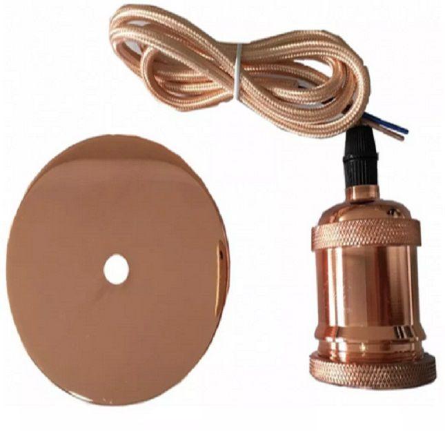 Pendente Metal Soquete  Vintage Rose Gold  Retro + Lâmpada E27 A60 Filamento