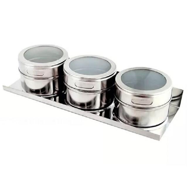 Porta Condimento Com Imã em Aço Inox 3 Peças