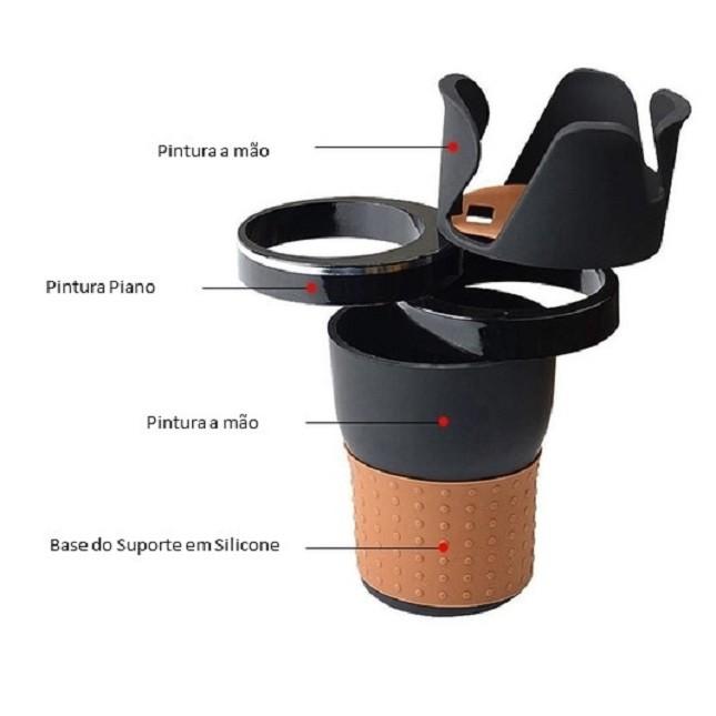 Porta Copo Veicular Latas 360 Rotativo Celular Carro