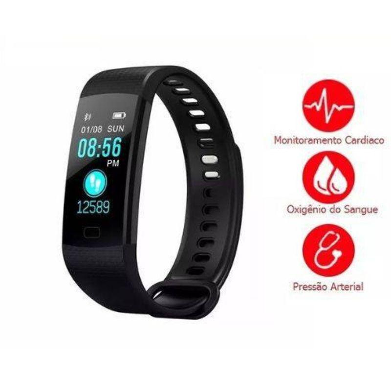 Pulseira  Smartband Relogio Y5 Frequência Cardíaca Pressão Arterial Oxigênio No Sangue Android Ios