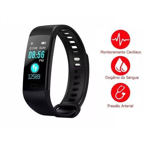 Relogio Pulseira Smartband Y5 Frequência Cardíaca Pressão Arterial Oxigênio No Sangue Android Ios