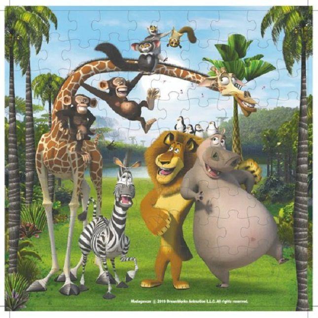Quebra Cabeça Infantil Madagascar  100 Peças