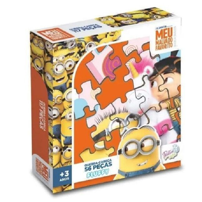 Quebra Cabeça Puzzle Minios Fluffy 56 Pçs