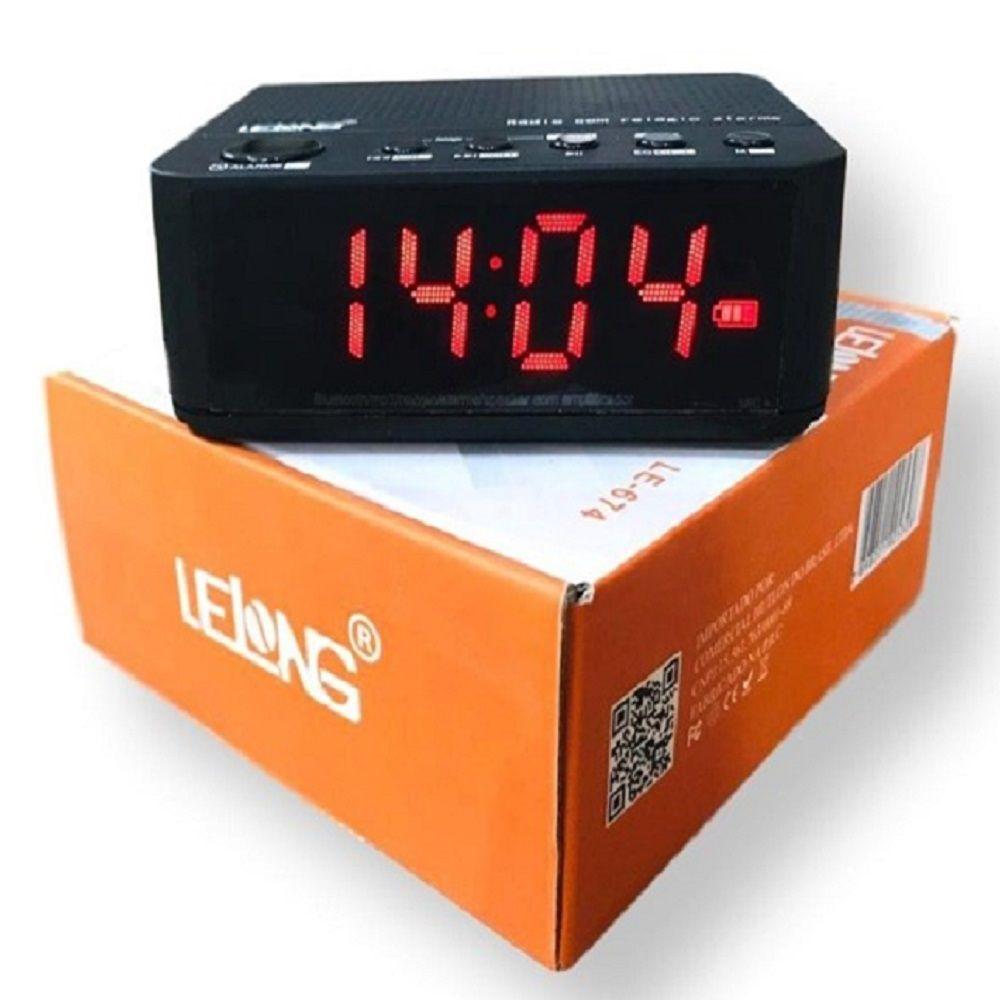 Rádio Relógio FM Bluetooth Despertador Digital LE-674