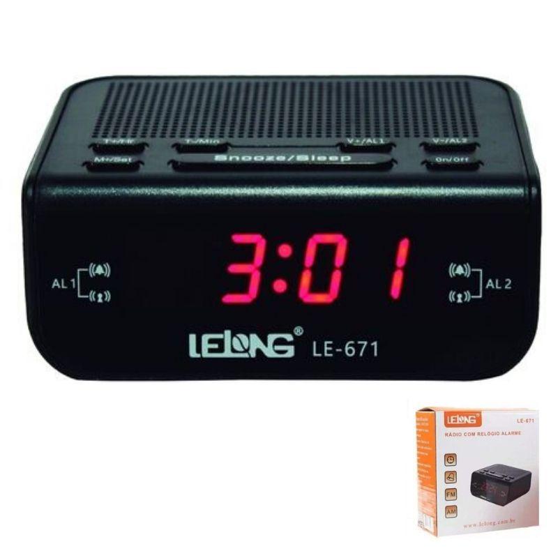 Rádio relógio digital com alarme Lelong 671