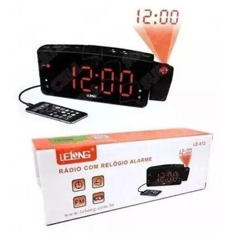 Rádio relógio digital com projetor e despertador Lelong 672