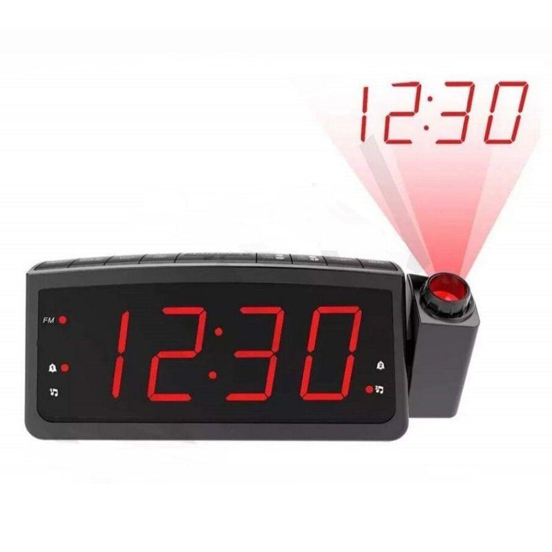 Rádio relógio digital com projetor porta USB e despertador Lelong 672