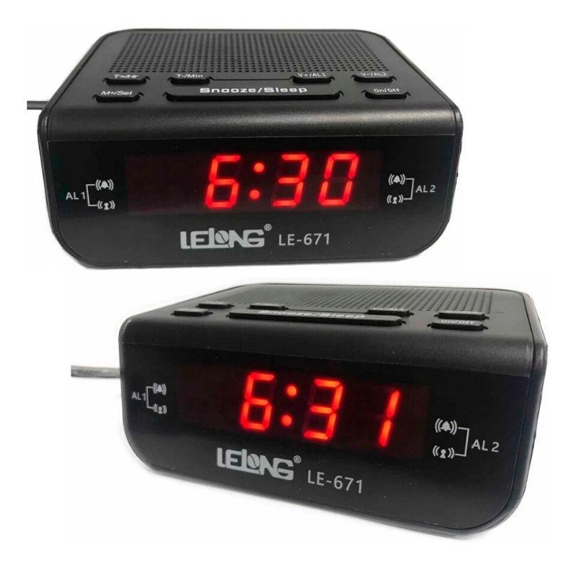 Rádio relógio digital e alarme duplo Lelong 671
