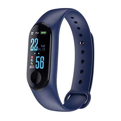 Relógio Inteligente M3 Smartband Monitor Cardíaco Azul