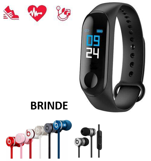 Relógio Inteligente Smartband M3 Monitor Cardíaco e Fone Brinde