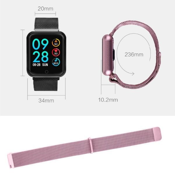 Relogio Inteligente Smartband P70 Pro Bluetooth Pulseira Metal Rosa