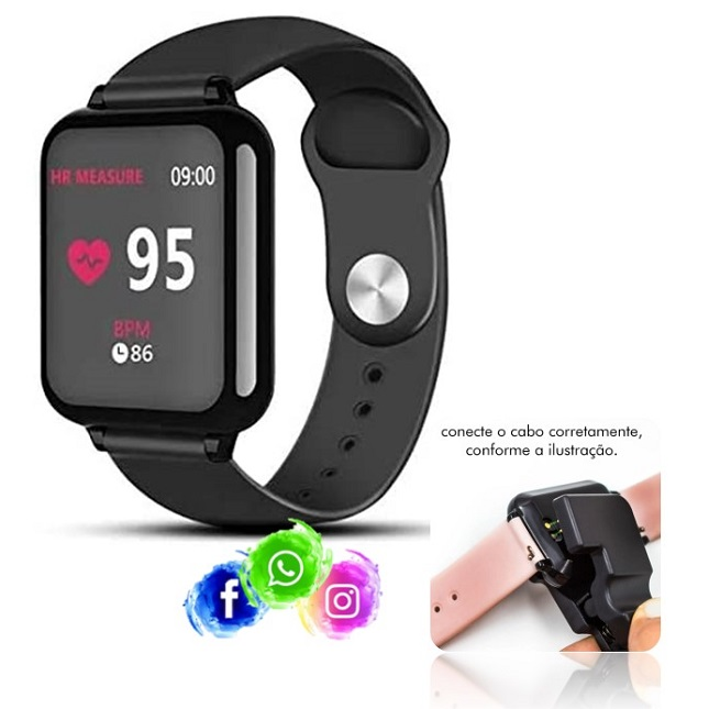 Relogio Inteligente Smartwatch B57 Preto Bluetooth Instagram