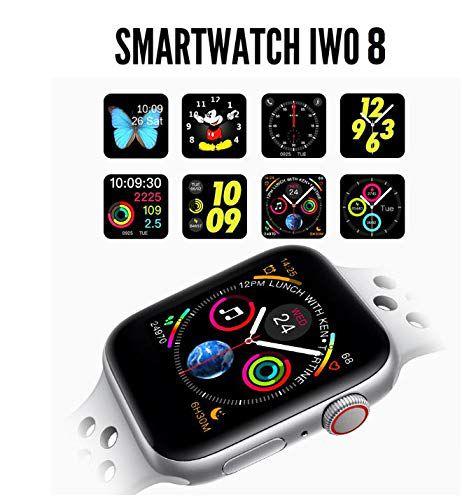 Relogio Inteligente SmartWatch Iwo8 44mm compatível Samsung Lançamento 2019 cores Prata