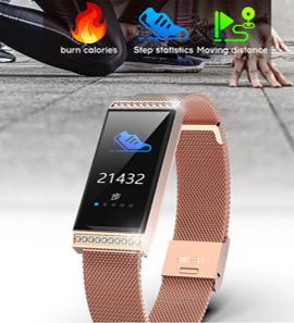Relogio Inteligente  SmartWatch  Retangular  a prova d agua  Android e IOS Metal Ouro Rosa