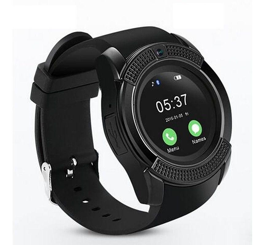 Relógio Smart Watch V8 Câmera Bluetooth  Chip Cartão Sd Preto
