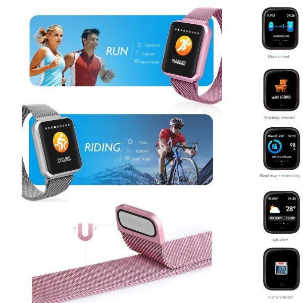 Relogio Smartband P70 Pro Bluetooth Pulseira Rosa