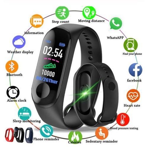 Relógio Smartwatch M3  Bluetooth  Monitor Cardiaco e Pressão
