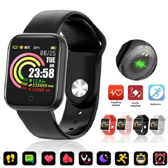 Relógio SmartWatch RBQW21  Esportes Saúde Redes Sociais  Preto