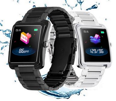 Relógio  Smartwatch V60 Bluetooth Pulseira em Metal Preto