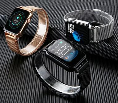 Relógio SmartWatch y6 Pro Facebook Whats ligações Pulseira Metal Dourado