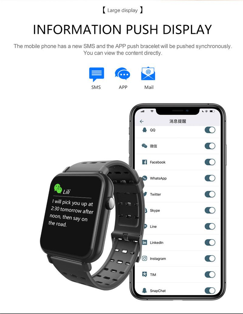 Relógio SmartWatch y6 Pro Facebook Whats ligações Pulseira Metal Preto