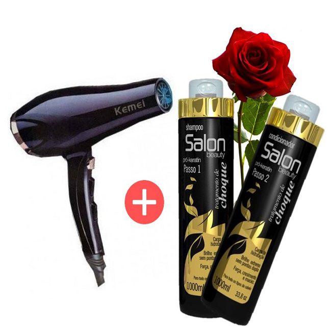 Secador de Cabelo  Kemey  3500W 110V KM 5812 Profissional  + Kit Salon Beauty Tratamento de Choque Shampoo e Cond 1L