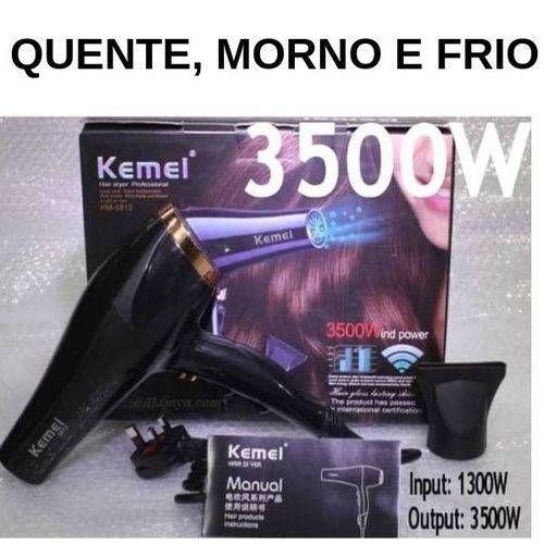 Secador de Cabelo Profissional   3500W 110V  Kemey 5812